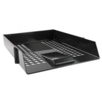 LETTER TRAY PLASTIC BLACK Q-CONNECT (RISERS)