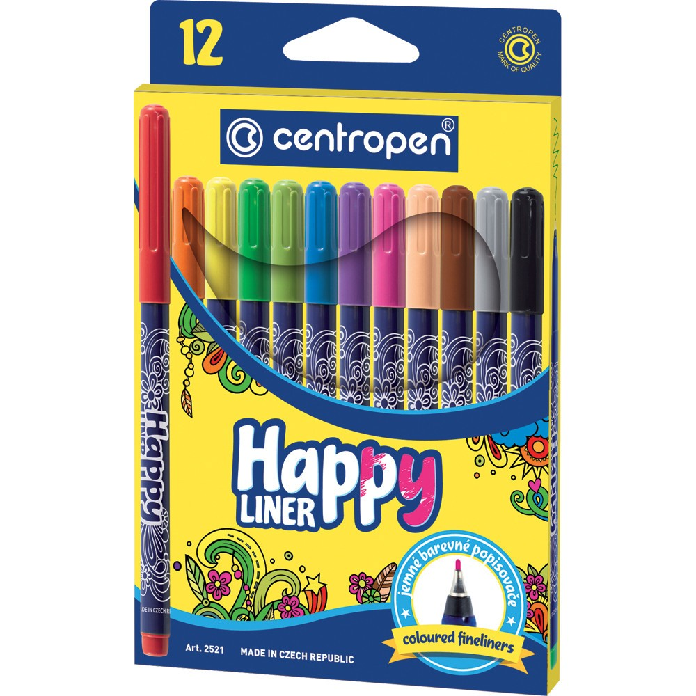 COLOURED FINELINERS X12 HAPPY LINER 2521
