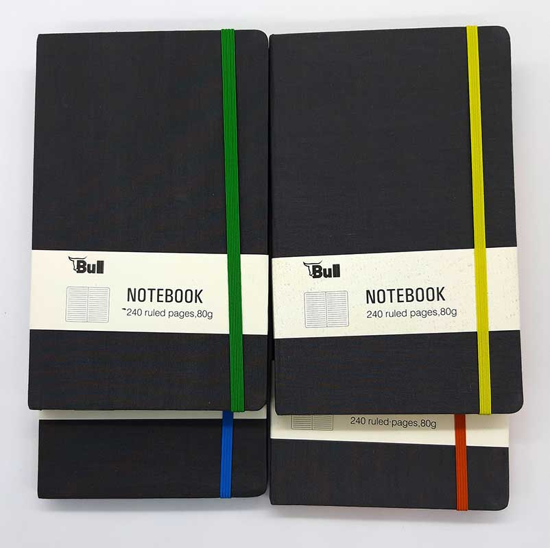 NOTEBOOK  GREY FABRIC JS15048 colored spine
