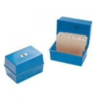 CARD INDEX BOX 5X3 BLUE Q-CONNECT