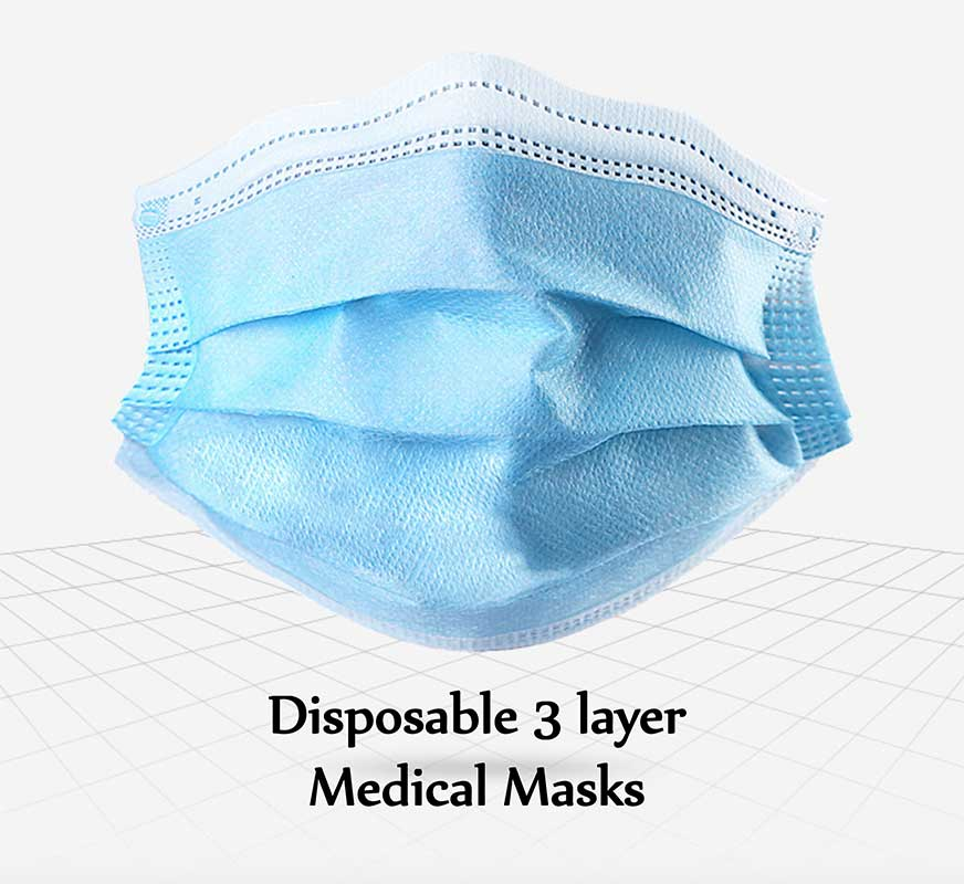 DISPOSABLE MEDICAL FACE MASKS PACK OF 50