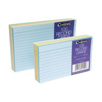 RECORD CARDS 3 X 5 ASSORTED COLOURS CONCORD