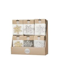 WINDOW DECORATION SNOWFLAKE GOLD SILVER WHITE 6 ASSORTED