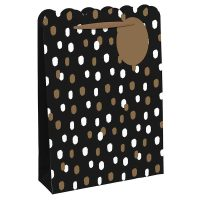 24669-6 GOLD & WHITE SPOTS SHOP BAG