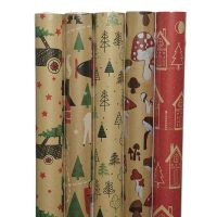 460096-K02-PAP GIFTWRAPPING ECO 5ASS 70X200CM